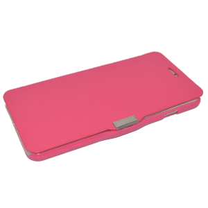 Roze kunstleer flip cover iPhone 6 Plus